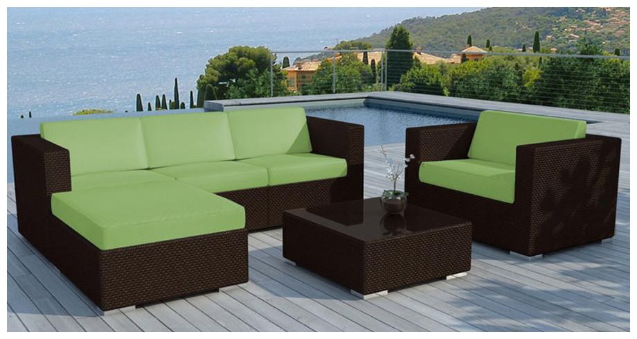 Salon de jardin résine tressée coussin vert - Jardin piscine et Cabane