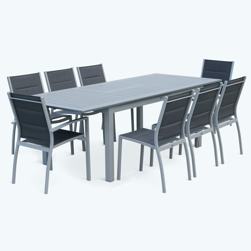 Salon de jardin table extensible aluminium jardin - Table de jardin extensible aluminium ...