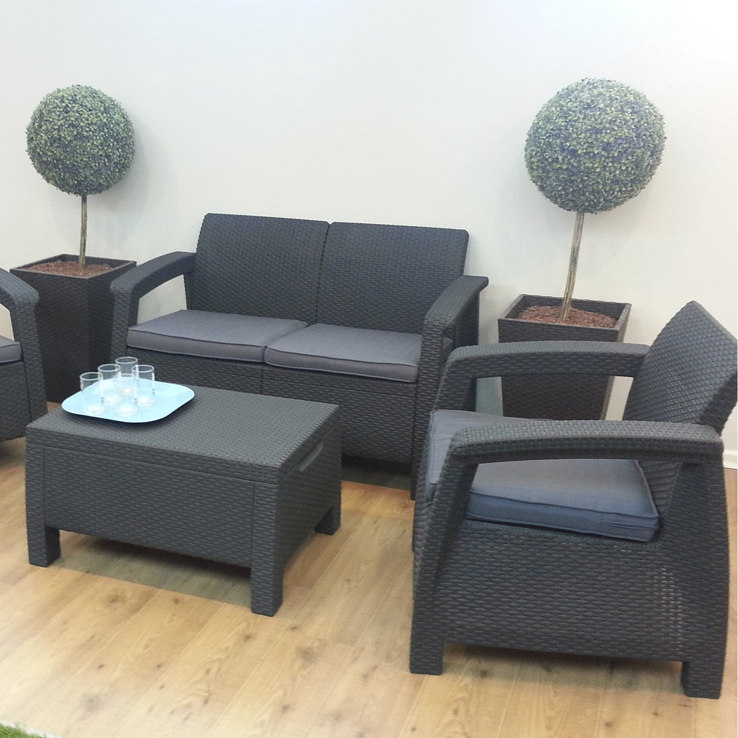 Salon de jardin modulable nevada graphite allibert - Jardin piscine ...
