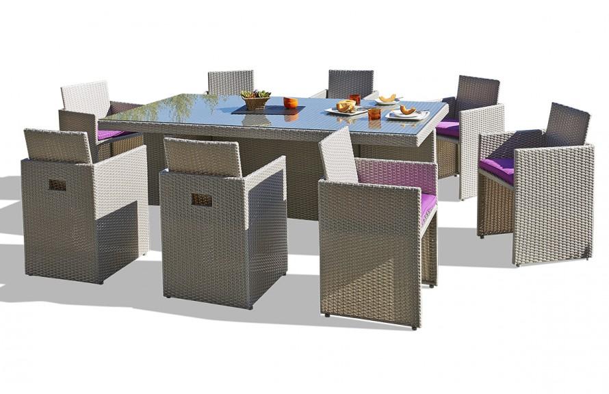 Salon de jardin resine avec fauteuil encastrable - Jardin piscine et ...