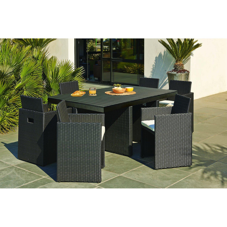 Salon de jardin table et chaises en resine - Jardin piscine et Cabane