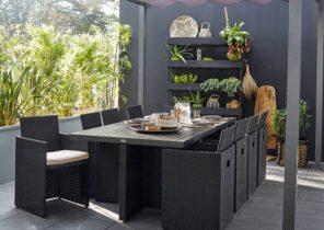 Salon de jardin isa - table + 4 fauteuils en résine tressée ronde ...