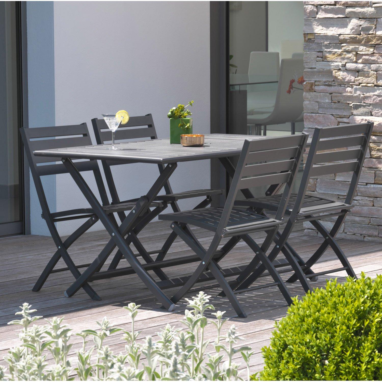 Salon de jardin aluminium gris anthracite - Jardin piscine et Cabane