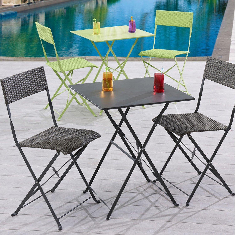Salon de jardin table + 2 chaises