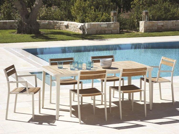 Salon de jardin bois et blanc - Jardin piscine et Cabane