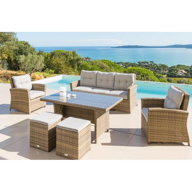 Salon de jardin résine tressée hesperide - Jardin piscine et Cabane