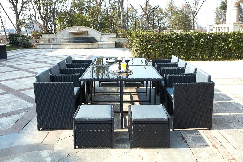 Salon de jardin resine gris amazon jardin piscine et cabane Salon de jardin resine tresse