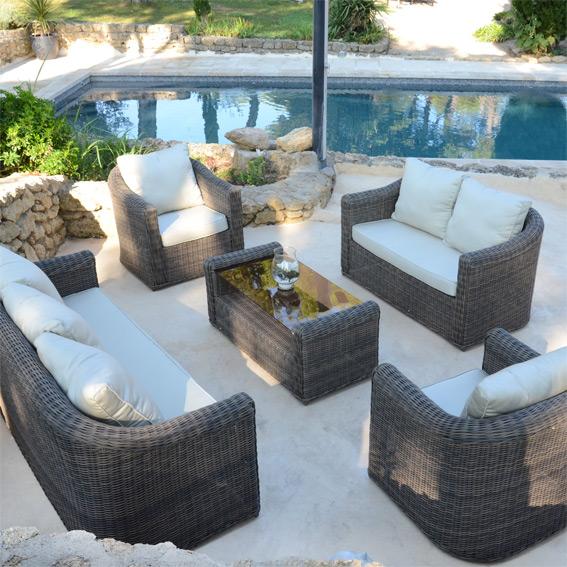Sumba salon de jardin 8 places en résine tressée - Jardin piscine et ...