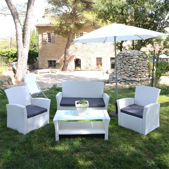 Salon de jardin resine blanc - Jardin piscine et Cabane