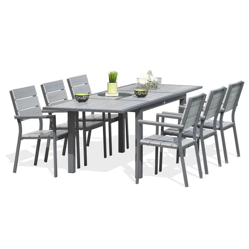 Salon de jardin sofia - table avec allonge et 6 fauteuils - Jardin ...
