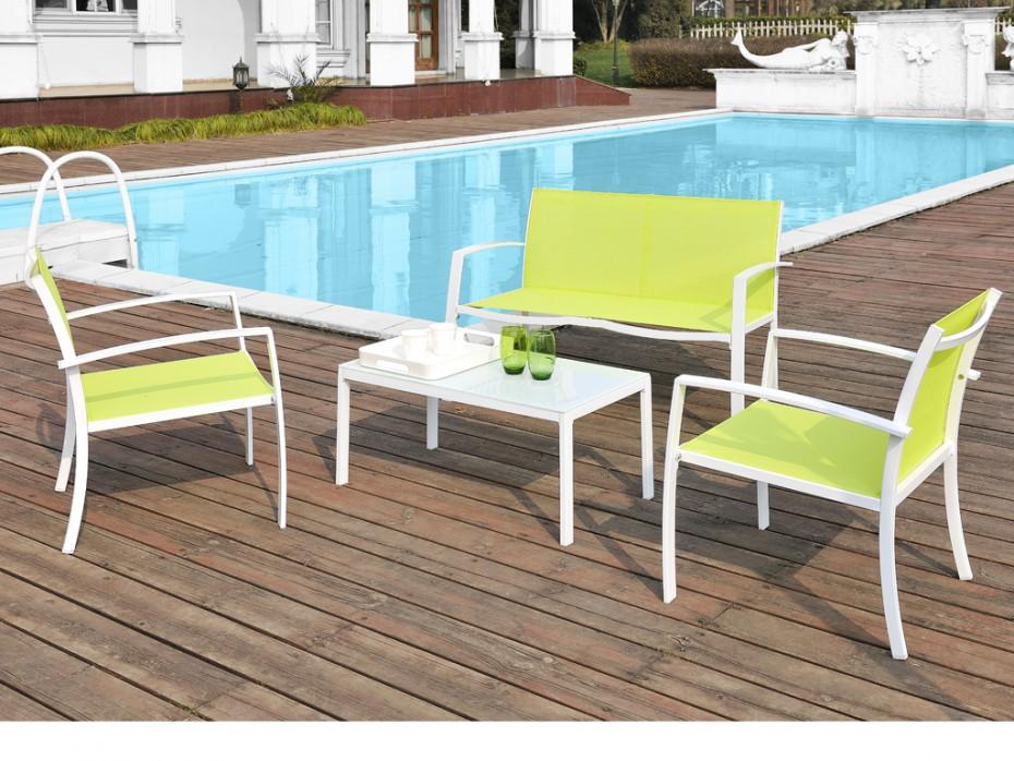 Salon de jardin en textilene vert - Jardin piscine et Cabane
