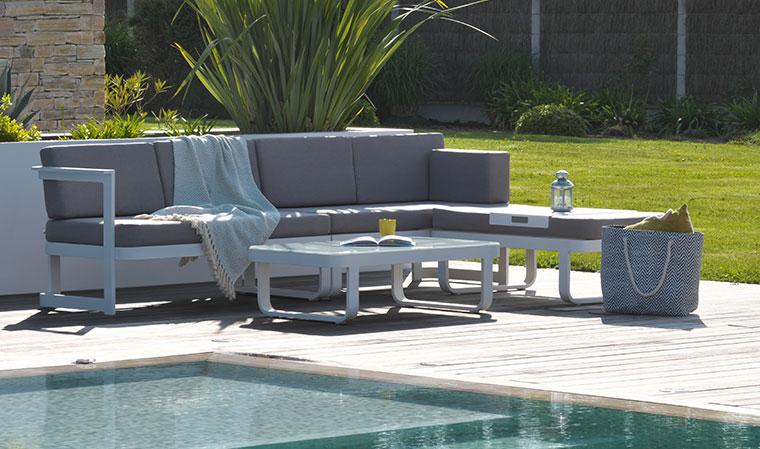 Salon de jardin angle aluminium - Jardin piscine et Cabane