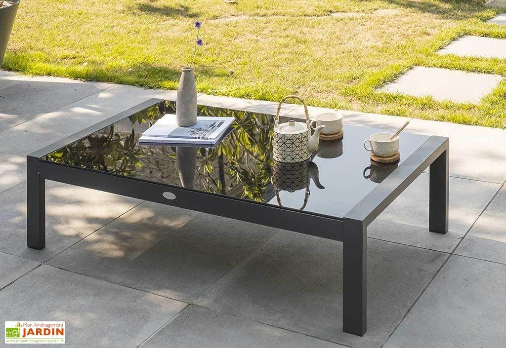 Table basse salon de jardin aluminium