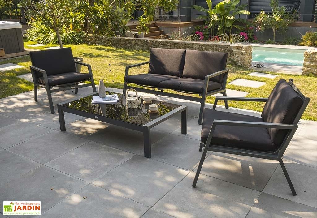 Salon bas de jardin aluminium textilène