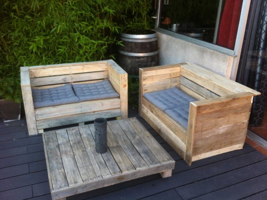 Salon de jardin en palette a vendre - Jardin piscine et Cabane