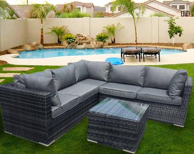 Salon de jardin tresse d\'angle - Jardin piscine et Cabane