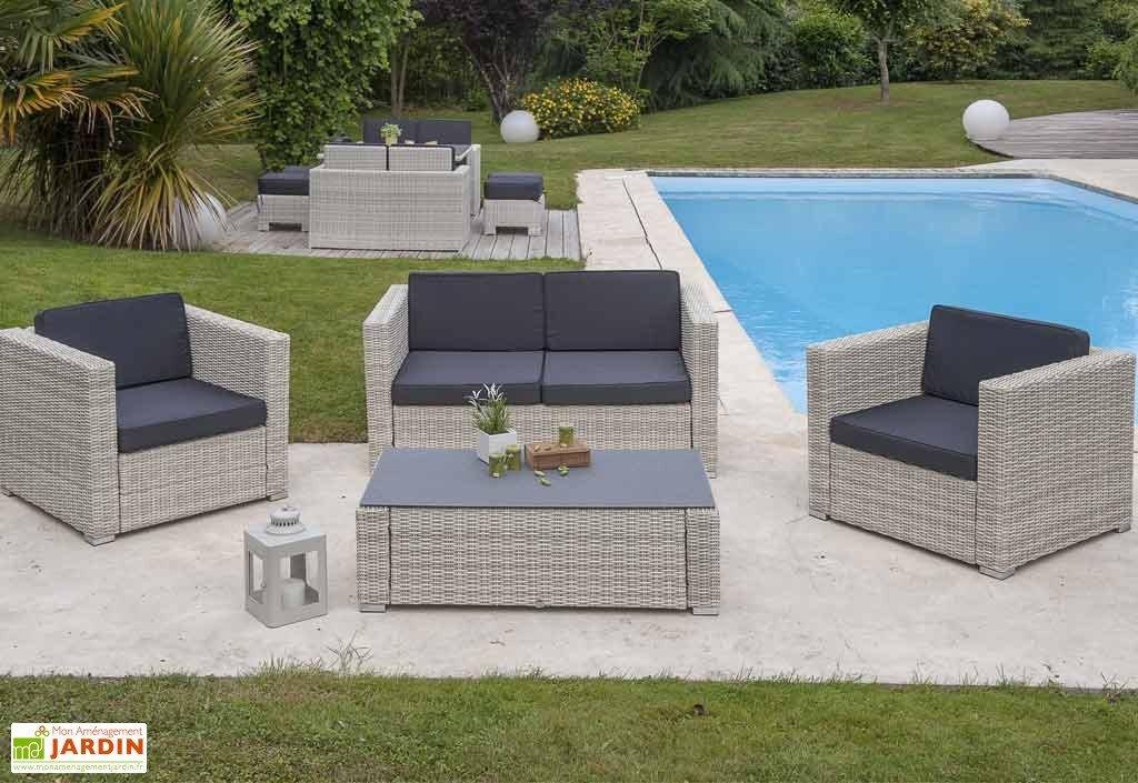 Salon de jardin resine gris clair - Jardin piscine et Cabane