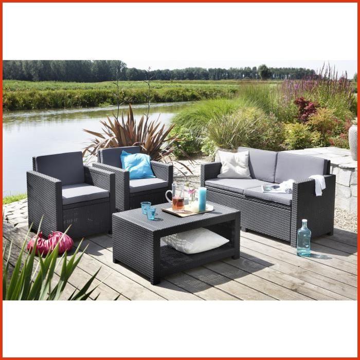 Salon de jardin tresse gris clair pas cher jardin - Table de jardin tresse pas cher ...