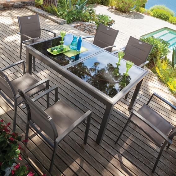 Salon de jardin aluminium et verre hesperide - Jardin piscine et Cabane