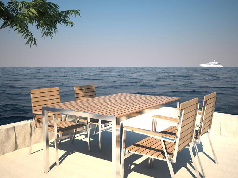 Salon de jardin bois et inox - Jardin piscine et Cabane
