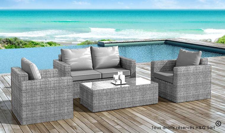 Salon de jardin gris resine tressee - Jardin piscine et Cabane