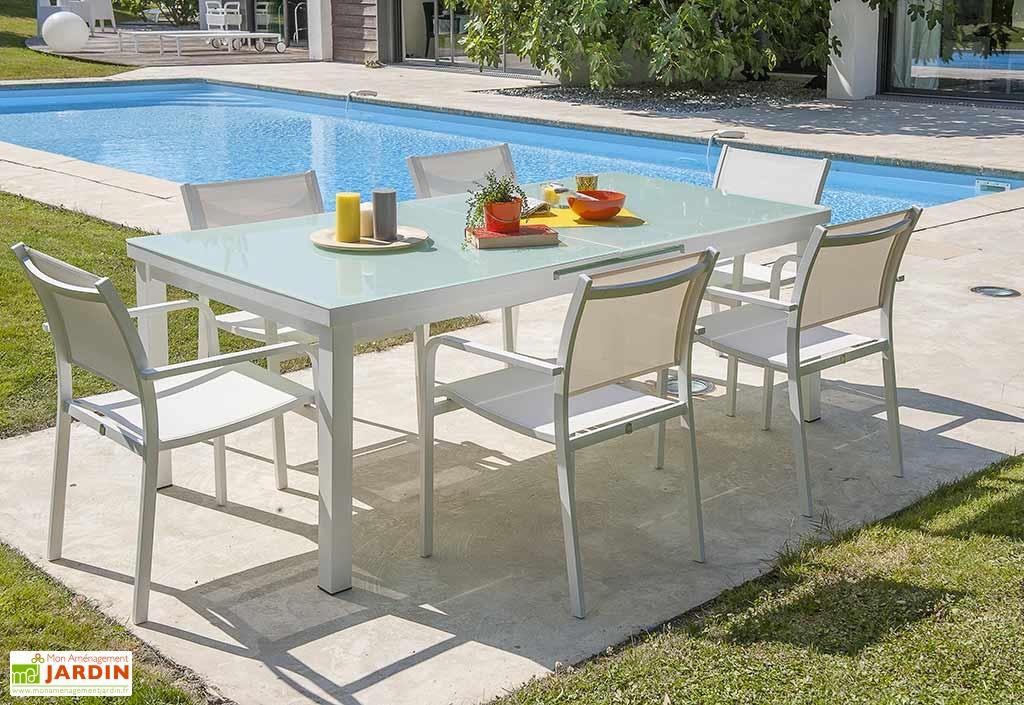 Salon de jardin aluminium vert - Jardin piscine et Cabane