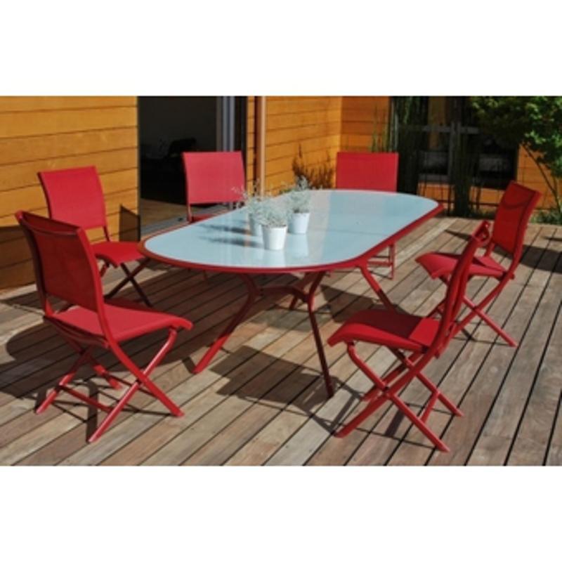 Chaise salon de jardin rouge - Jardin piscine et Cabane