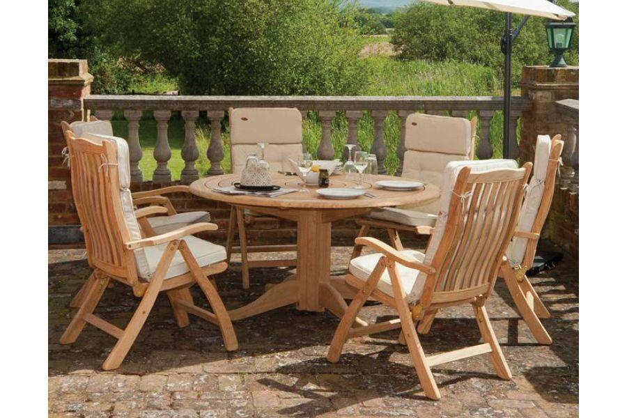 Table de salon de jardin ronde en bois