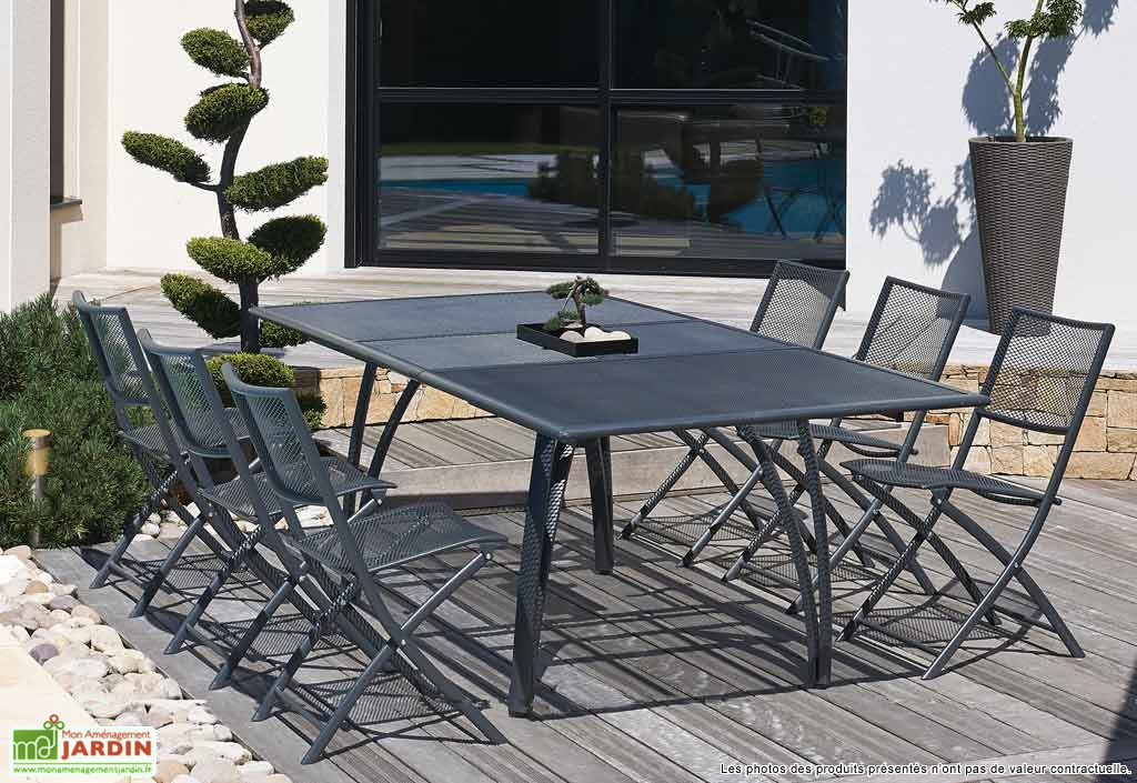 Salon de jardin metal gris