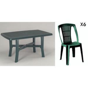 Table salon de jardin plastique vert