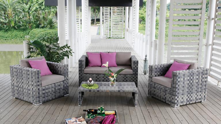 Salon jardin gris taupe